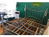 Quality Sturdy Grey Metal Shabby Chic Vintage Iron Style Double Bed Teenage Girl Princess Bedroom