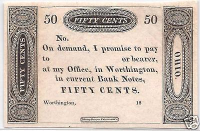 1819 Worthington, Ohio - .50 ct. Fractional Currency, *Super Nice*