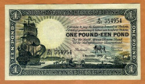 South Africa, 1 Pound, 1945, P-84f, VF