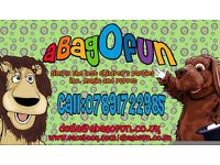 abagofun children's entertainment parties, magic, puppets, family fun, bespoke, weddings, characters