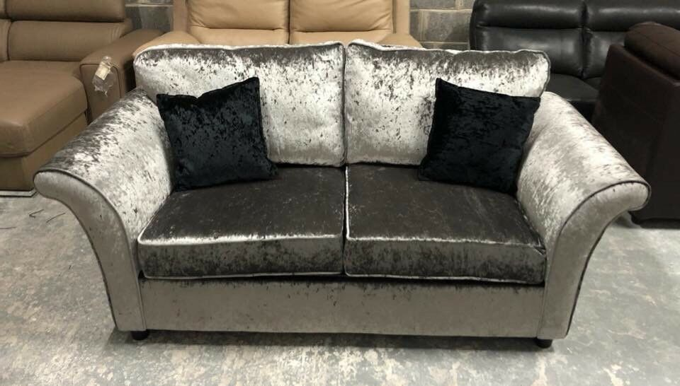 Dfs Silver Crushed Velvet Sofa Bed
