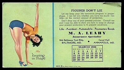 VINTAGE ADVERTISING INK BLOTTER -M.A. LEAHY, ANNAPOLIS,MD. UNUSED