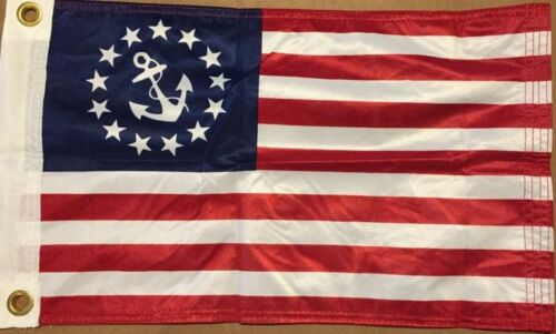 NEW Yacht Anchor Ensign 3x5 ft knitted Polyester  Dyed USA FLAG