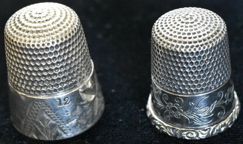 2 Antique Sterling Thimbles Simons & USA