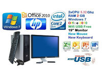 HP Complete Desktop PC DUAL CORE + 4GB Ram + 160Gb + 19''Screen + FREE Delivery