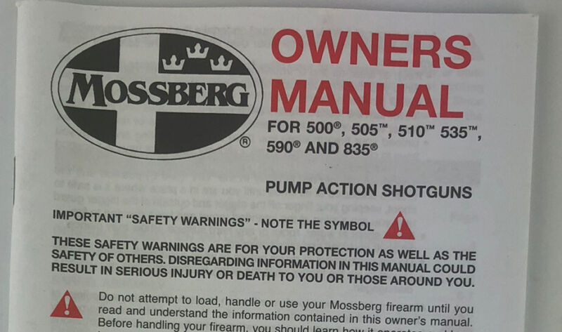 Mossberg M500 505 535 590 835 Pump Shotguns 70 Pages Owners Manual Eng/Spanish