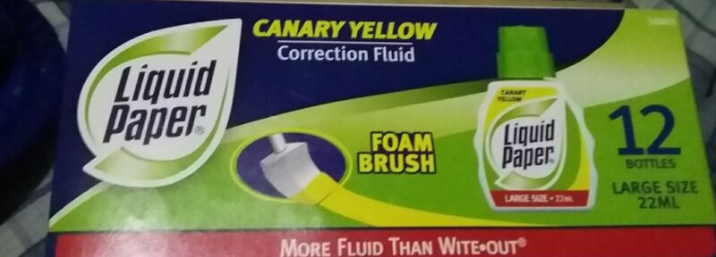Liquid Paper Correction Fluid, 22 ml, Canary Yellow, 12 Bottles Free Shipping