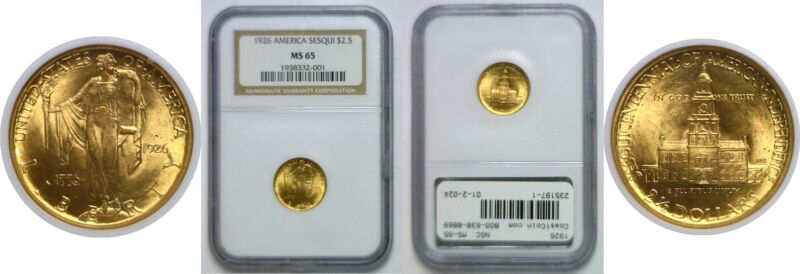 1926 Sesquicentennial $2.50 Gold Commemorative NGC MS-65