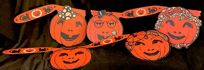 RARE! ANTIQUE 1930's Hanging Happy PUMPKINS SCARY CATS Garland Halloween