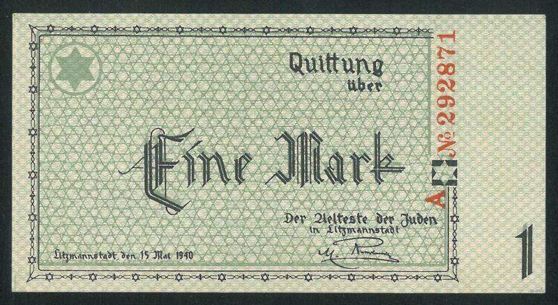 POLAND 1 Mark (1940) UNC banknote Juden Seria A