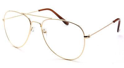 Classic Vintage Retro Aviator Clear Lens Gold Metal Frame Eyeglasses Glasses