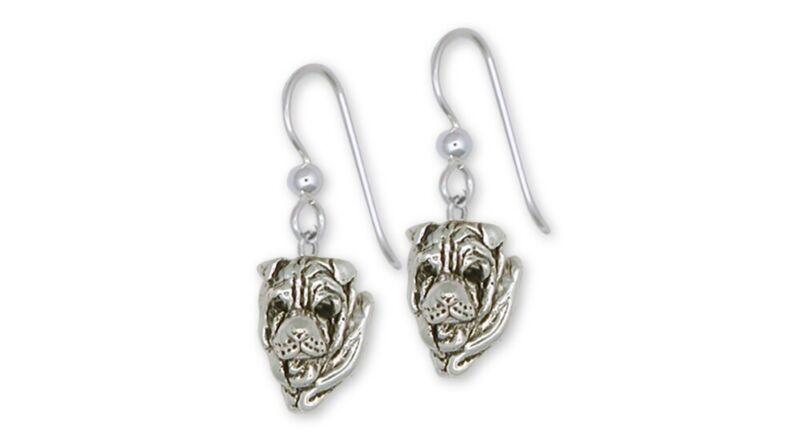Shar Pei Earrings Jewelry Sterling Silver Handmade Dog Earrings SHP3-E