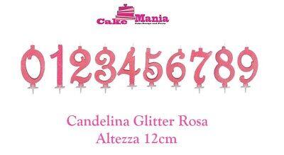 Candelina Candela per torta compleanno color Rosa Glitter Cake Design da 0 a 9