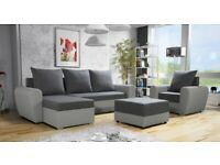 Corner Sofa Bed with an armchair and a pouf