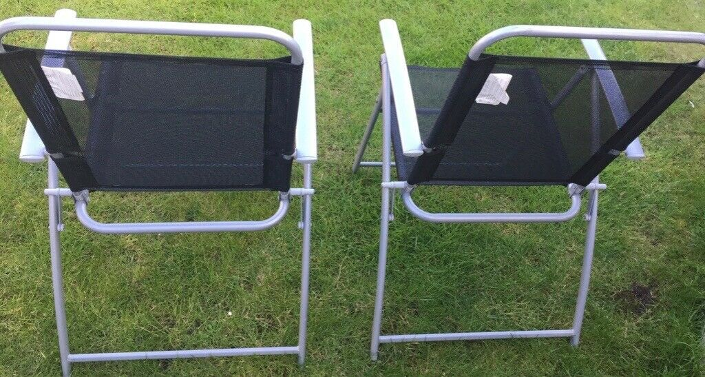 Awesome Two Fold Up Black Garden Chairs In Yateley Hampshire Gumtree Squirreltailoven Fun Painted Chair Ideas Images Squirreltailovenorg
