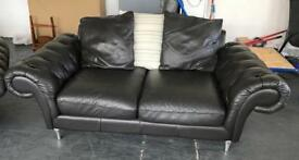 Chestefield Black/Brown Leather Sofa .Can Deliver
