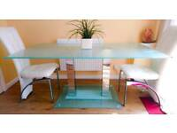 Large Glass Dining Table with Mirrored Legs