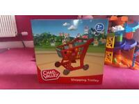 Kids shopping trolly and food