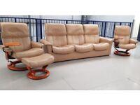 Ekornes Stressless 3 seater settee recliner & 2 recliner chairs & 1 footstools