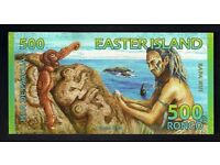 EASTER ISLAND - 500 RONGO POLYMER BANKNOTE -- PERFECT UNCIRCULATED