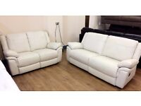 ScS LIBRA , Cream Leather , 3+2 Seater MANUAL RECLINER SOFA SUITE (RRP £1298) + FREE LOCAL DELIVERY
