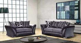 Chenille Fabric 3 and 2 seater sofa available colours black and grey or in brown & beige
