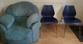 Single seater sofa and two chairs