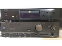 Denon CD player and remote - excellent condition. Technics amp available separately.