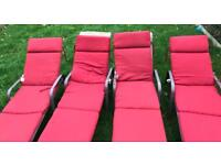 4 reclining garden loungers with covers