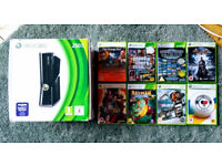 Xbox 360 Slim 250GB w/8 games & 3 controllers. Excellent condition