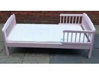 toddler bed, including the mattress. pink colour. In good condition