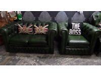 Immaculate Compact Chesterfield 2 Seater Sofa & Club Chair Suite Green Leather - Uk Delivery