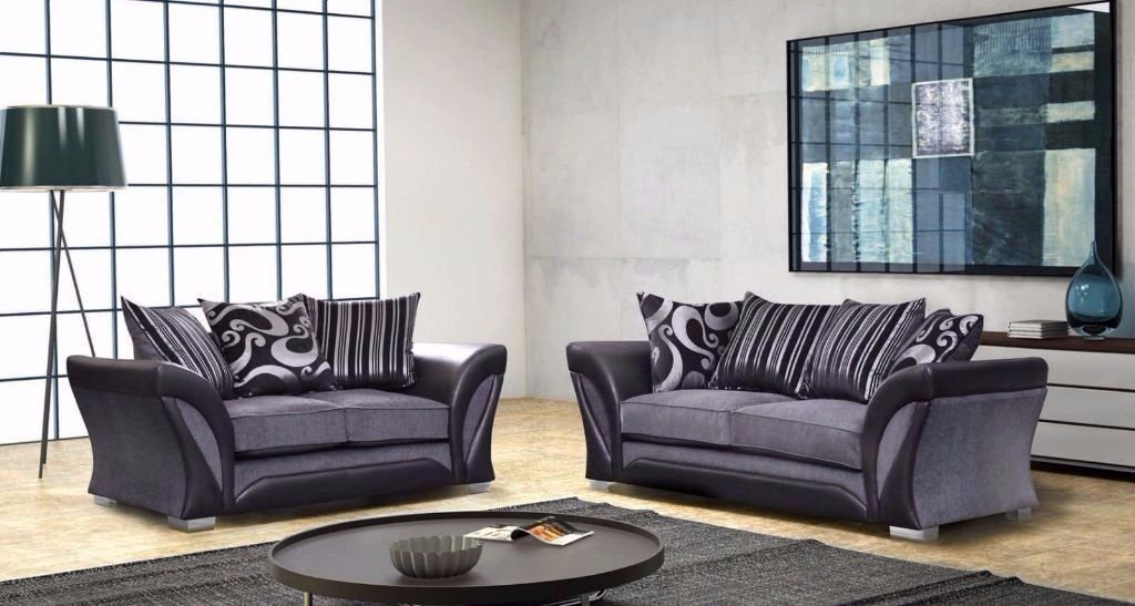 Chenille Fabric 3 and 2 seater sofa Corner Sofa available colours black and grey or in brown & beige