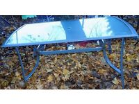 Large glass outdoor table, 150cm x 90cm