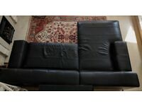 Black Leather Ikea Kramfors Chaise Lounge Right Sofa
