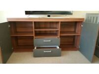 Large tv cabinet stand unit sideboard funiture grey brown