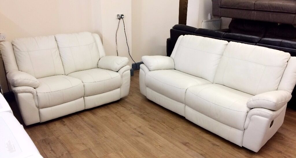 Superior Cream Leather Reclining Sofa Planet 3pcs Genuine