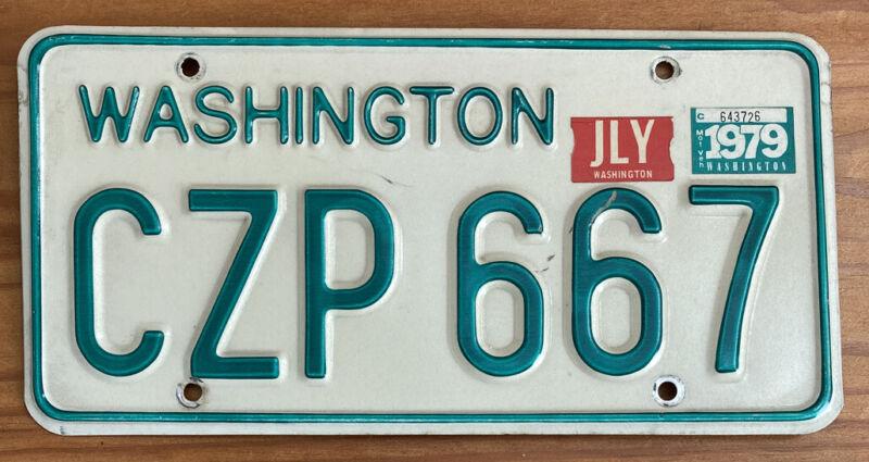 NICE 1968-1982 Washington Passenger Vehicle License Plate Single, Natural 1979