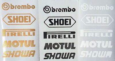 Gold Aufkleber Set (Brembo Shoei Motul Motorsport Sponsoren Carbon Aufkleber Gold Racing Set )