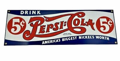 """Vtg Ande Rooney Drink Pepsi-Cola 5 Cents Metal Sign 18""""L x 6""""H FREE SHIPPING"""