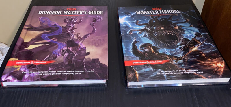 d&d monster manual, dungeon master's guide and screen, and starter set