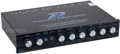 POWER ACOUSTIK PWM-16 CAR AUDIO 4-BAND GRAPHIC EQUALIZER EQ SUB CROSSOVER AUX IN