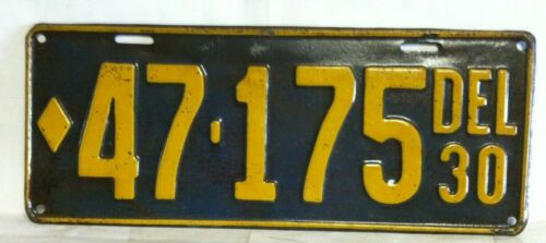 1930 DELAWARE License Plate (47-175) Original Very Nice