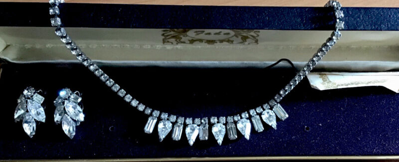 vintage necklace and earring Weiss Signed Set