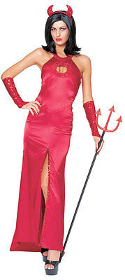 Elegant Devil Satan Lucifer Red Cute Dress Up Halloween Sexy Adult Costume