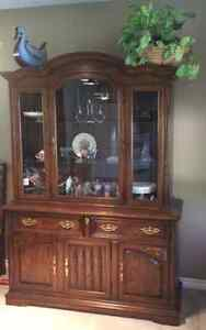 Solid Canadian Oak Knechtel Cabinet and hutch