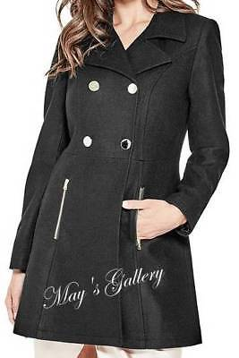 GUESS Coat Jacket Blazer Double Breasted Black Outerwear wool Peacoat XS S M L