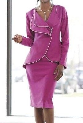 Ashro Berry Fuchsia Front  Zip Up and Zip Trim Skirt Suit 6 8 10 14 20W 22W 24W