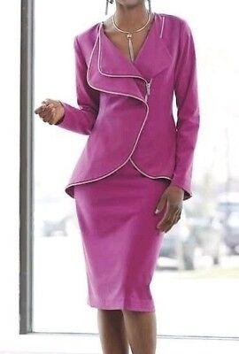 - Ashro Berry Fuchsia Front  Zip Up and Zip Trim Skirt Suit 6 8 10 14 20W 22W 24W