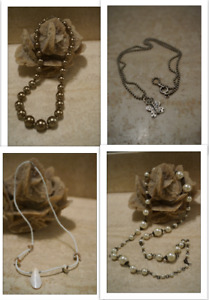 Necklaces! Bronze/white costume pearls, butterfly pendant, shell